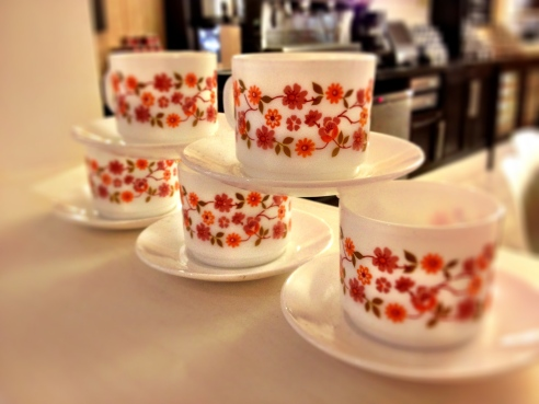Kitsch cups and saucers