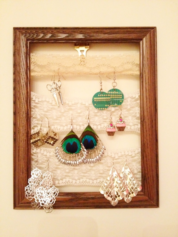 wooden jewelry rack wall