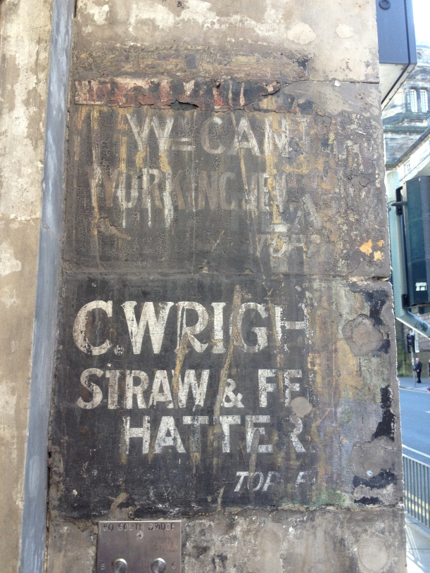 Ghost sign at a flat buzzer